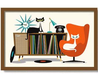 Mid Century Modern Art Print, Atomic Cat Gifts, Retro Sideboard, Tuxedo Cat Art Print, Cat Lover Gift Vinyl Record Storage Old Record Player