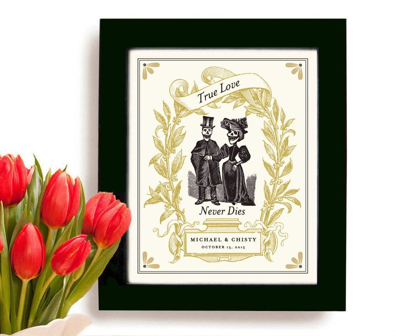 Unique Wedding Gift Personalized Art Print Day of the Dead Love Story  Anniversary Gift I Love You to Death Skull Goth Unusual Gift