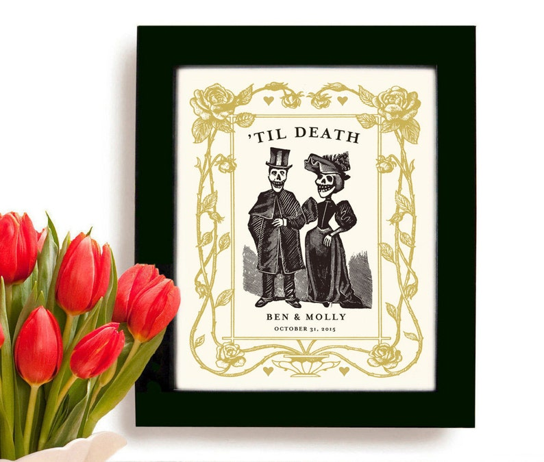 Cool Wedding Gifts.Personalized For Couples Day Of The Dead Cool Wedding Gift Unique Wedding And Engagement Gift Dia De Los Muertos Tattoo Couple Art Print
