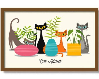 Mid Century Modern Art, Cat Art Print, Monstera Plant, Black Cat Lover Gift, Tropical Decor, Unique Planters, Tabby Cat, Houseplants Art