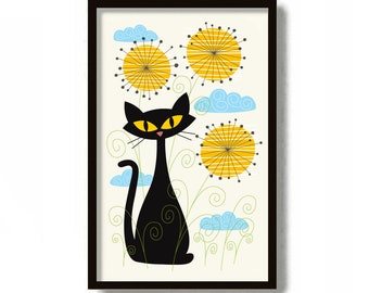 Mid Century Modern Art, Cat Lover Gift, Kitchen Art, Dandelion Print, Black Cat Print, Kitsch Decor, MCM Wall Art, Retro Poster