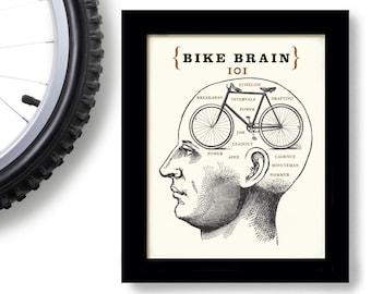 Bicycle Gift Bike Art Phrenology Head Bike Rider Bicycle Shop Bike Brain School Racing Team Biking Words Cycling Art Loves Bikes