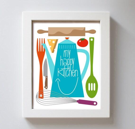 Items Similar To Kitchen Gift Art Print Retro Happy