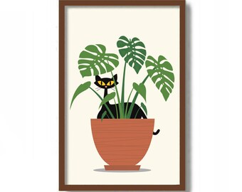 Cat Art Print, Monstera Plant, Mid Century Modern Art, Black Cat Lover Gift, Tropical Decor, Minimalist Wall Art, Black Cat Art