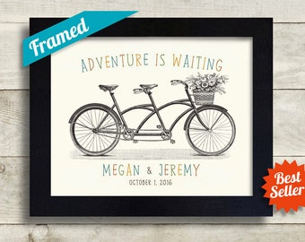 Tandem Bike Unique Wedding Gift Personalized Art Print Anniversary Present Just Married Keepsake for Couples Bicycle Theme Wedding Decor