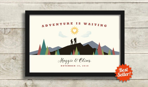 Outdoor Enthusiast Wedding Gift For Couple Adventure Awaits Etsy