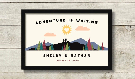 Adventure Awaits Hiking Gifts for Couple Personalized