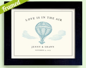 Hot Air Balloon Love is in the Air Unique Engagement Balloon Framed Wedding Gift Clouds and Sky Newlywed Gift for Couples Personalized Art
