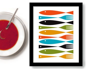 Kitchen Art, Foodie Gift, Fish and Forks, Mid Century Modern, Cooking Art, Kitchen Decor, Fork Spoon Colorful Cooking Quote Kitchen Utensils