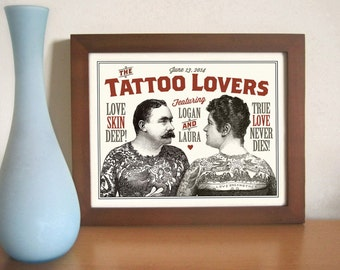 Unique Tattoo Wedding Couple, Personalized Wedding or Engagement Gift
