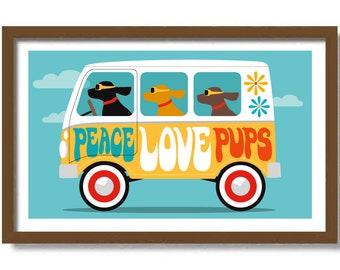 Mid Century Modern Dog Art Print, Hippie Van, RV Camper Bus, Trailer Park, Black Lab, Retro Camper, Dog Lover Gift, Cute Puppy Wall Art