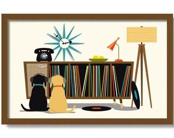 Mid Century Modern Art Print Black Dog Lover Gift, Retro Sideboard, Black Lab, Vinyl Record Storage, Record Player, Black Labrador Retriever