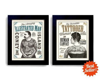 Tattoo Parlor Gift for Couple Tattoo Art Print Set of Two Sideshow Art Circus Poster Carnival Man and Woman Art Print Side Show Art