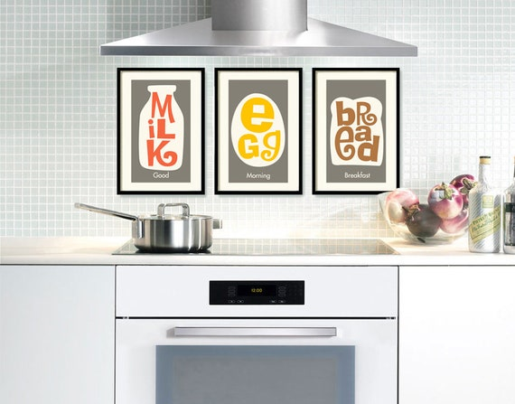 mid century modern kitchen wall art decor art print wall art | etsy