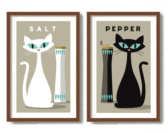 Cat Lover Gift, Kitchen Art Set of Two Prints, Mid Century Modern Wall Art, Black Cat Art, Gift for Chef, Loves to Cook, Foodie Gift