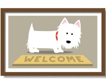 Westie Art Print, Wipe Your Paws, Dog Lover Gift, Wall Art Decor, West Highland Terrier Art, White Dog, Welcome Mat