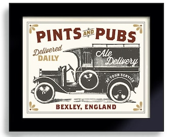 Beer Sign for the Man Cave, Pub Sign, Bar Decor, Beer Gift, English Pub, Old Truck, Poker Room