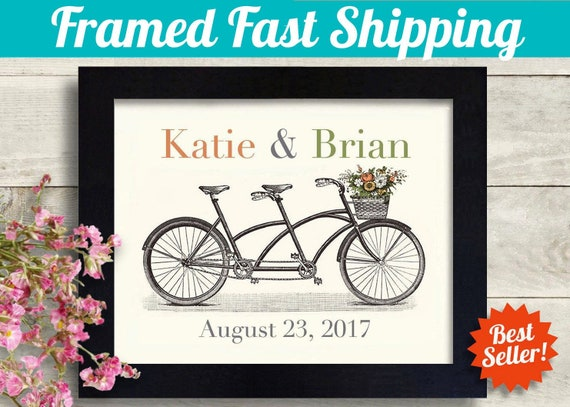35aa9d452286 Unique Wedding Gift for Couple Tandem Bike Name Art