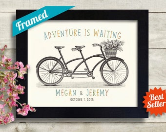 Bride Groom Personalized Wedding Gift Wall Decor, Tandem Bicycle Personalize Couples Gift, Couples Housewarming Gift Wall Art Anniversary,