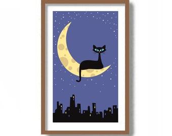 Mid Century Modern Art, Black Cat Lover Gift, Sweet Dreams Print, Cat Art Print, Cat Moon and Stars, City Skyline Print, Crescent Moon Decor