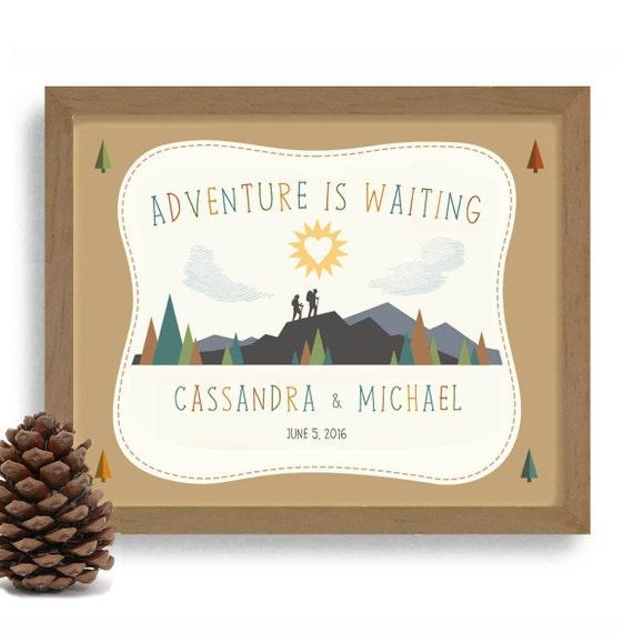 Hiking Wedding Gift Adventurous Couple Personalized Wedding Etsy