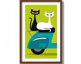 Mid Century Modern Cat Art Print,  Motor Scooter, Black Cat Lover Gift, White Cat Wall Art, French Wall Decor, Travel Gift