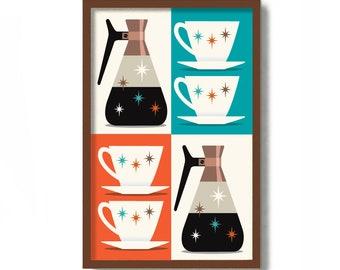 Mid Century Modern Kitchen Art, Copper Carafe, Coffee Bar Sign, Retro Kitchen Decor, Coffee Art, Scandinavian Design, Atomic Art