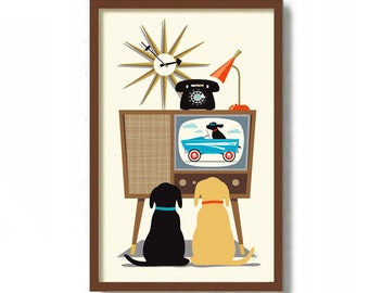 Little Man Cave Decor, Black Lab, Mid Century Modern Wall Art Print, Dog Art Print, Vintage TV,  Labrador Retriever Dog Lover Gift