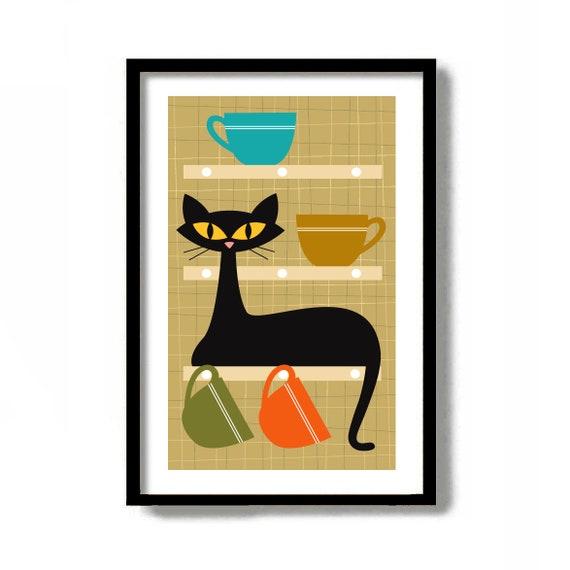 Kitchen Wall Art Mid Century Modern Art Kitchen Decor Black Etsy