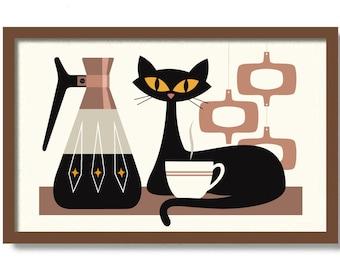 Cat Art Prints, Mid Century Modern Art, Coffee Bar Sign, Kitchen Art Print, Black Cat Art, Coffee Lover Gift, Retro Coffee Pot, Atomic Cat