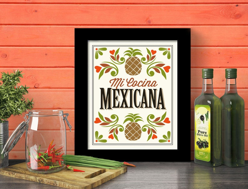 Mexican Kitchen Decor Art Print Mexican Home Mexican Food Mi Etsy