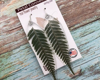 Gardening Gift, Pressed Leaf, Fern Earrings, Botanical Jewelry, Nature Inspired,Hostess Gift, Real fern earrings, Pressed Flower Pendant