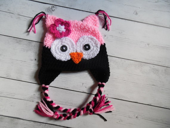 Baby Girl Owl Hat Pink Owl hat with Flower Toddler Owl Hat  c907c27ed37