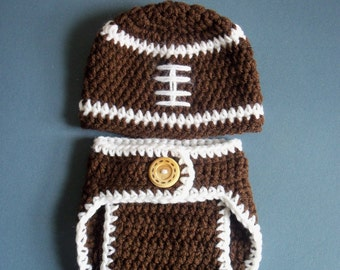 Crochet Football Hat and Diaper Cover, Newborn Football Hat, Diaper Cover And Hat