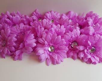 FLOWER DESTASH: Lot of 24 - Daisy with Gem Center- Lavender Lilac Purple - 2.5 inch - Floral Craft Supply - Cutie Patootie Designz