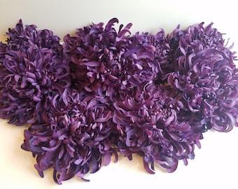 FLOWER DESTASH: Lot of 9 - Spider Daisy Mum - Eggplant Purple - 6 inch - Floral Craft Supply - Cutie Patootie Designz
