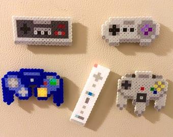 Nintendo Controller Retro Magnets Perler Bead Pins 8 bit Pixel Art