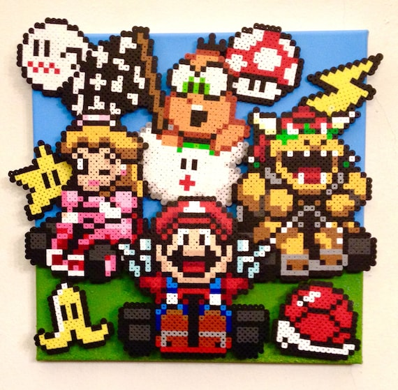 3d Mario Kart Retro Gaming Art Handmade Pixel Art Perler Beads On Canvas