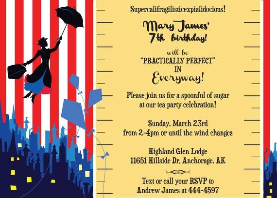 Mary Poppins Party Invitation Baby Shower Birthday Ruler Etsy
