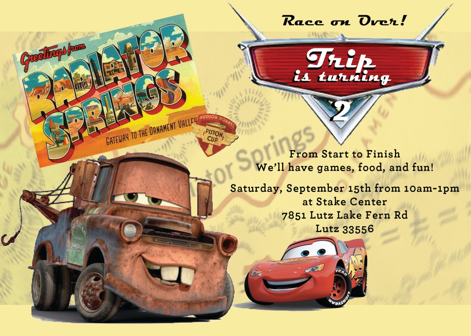 Disney Cars Party Invitation Mater And Lightning McQueen Radiator Springs Yellow Girl Or Boy Birthday Baby Shower Invite