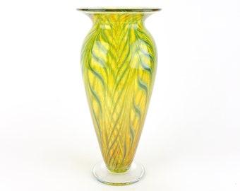 Yellow Hand Blown Glass Vase