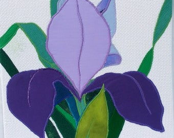 Purple Iris Fabric Wall Hanging