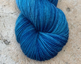 "Fingering Weight, ""Something Blue"" Merino Wool Superwash Yarn, 4 oz, machine washable yarn"