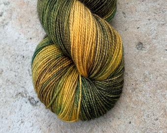 "Fingering Weight, ""Good Compost"" Merino Wool Superwash Yarn, 4 oz, machine washable yarn"