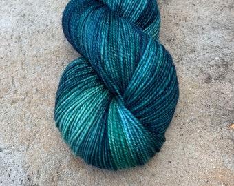 "Fingering Weight, ""Teal Me"" Merino Wool Superwash Yarn, 4 oz, machine washable yarn"