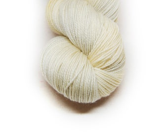 "Fingering Weight, ""Swan Song"" Merino Wool Superwash Yarn, 4 oz, machine washable yarn"