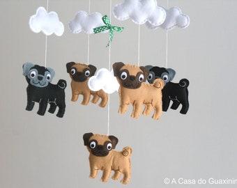 Pug Baby Mobile - Wooden Hoop Baby Mobile