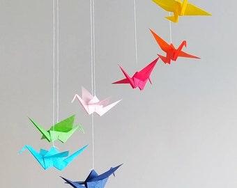 Rainbow Origami Paper Crane Baby Mobile - Nursery Room - Wooden Hoop Baby Mobile - Eco Friendly Baby Mobile