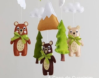 Woodland Baby Mobile - Bear, Pine Tree and Mountain Baby Mobile - Wooden Hoop Baby Mobile - Forest Baby Mobile - Bear Baby Mobile