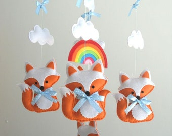 Fox and Rainbow Baby Mobile - Wooden Hoop Baby Mobile